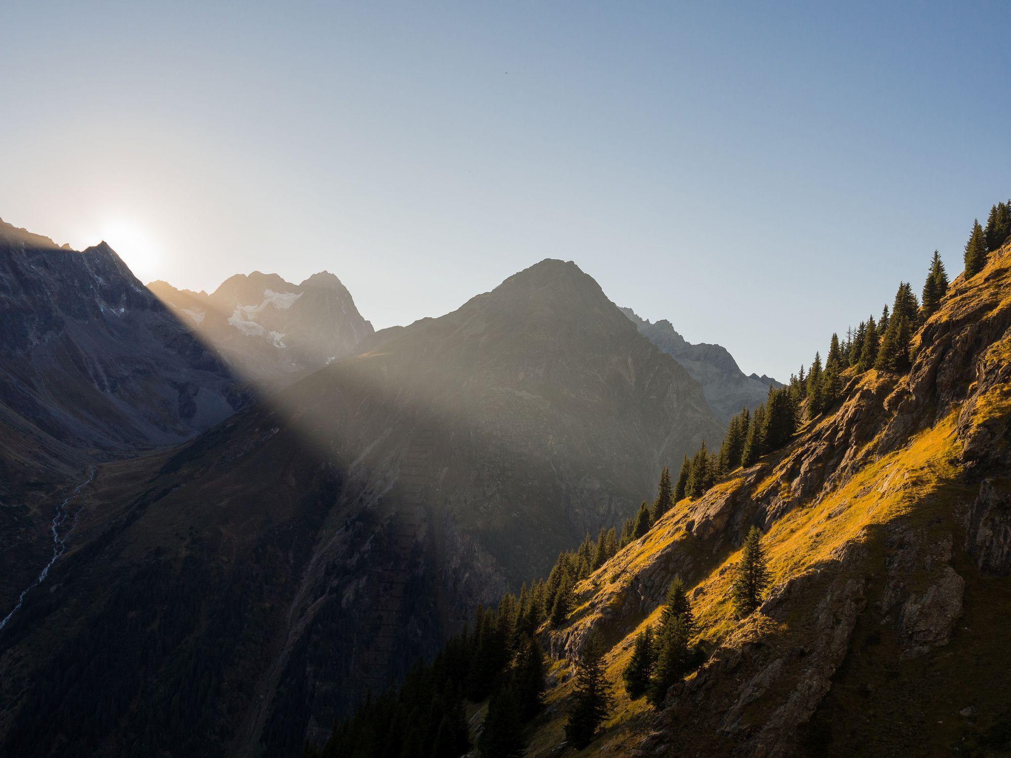 Abendsonne in den Bergen